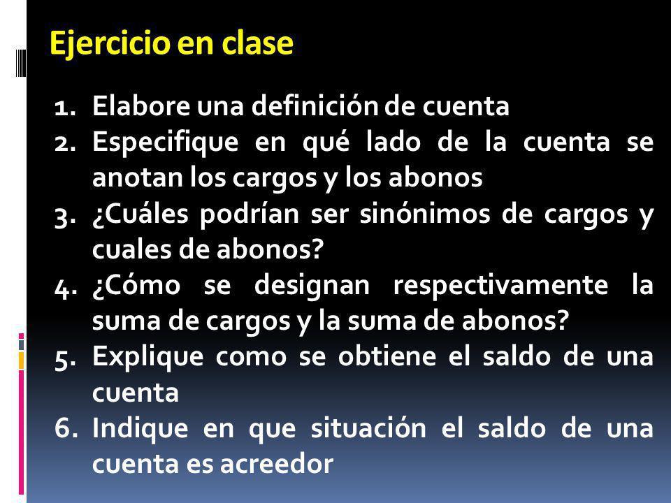 Ejercicio en clase 1.Elabore una definición de cuenta 2.Especifique en qué lado de la cuenta se anotan los cargos y los abonos 3.¿Cuáles podrían ser s