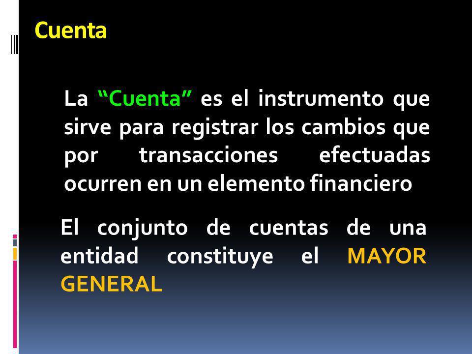 Cuenta La Cuenta es el instrumento que sirve para registrar los cambios que por transacciones efectuadas ocurren en un elemento financiero El conjunto