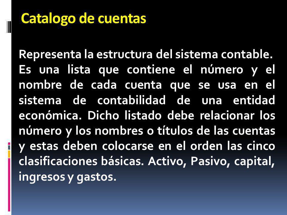 Catalogo de cuentas Representa la estructura del sistema contable. Es una lista que contiene el número y el nombre de cada cuenta que se usa en el sis