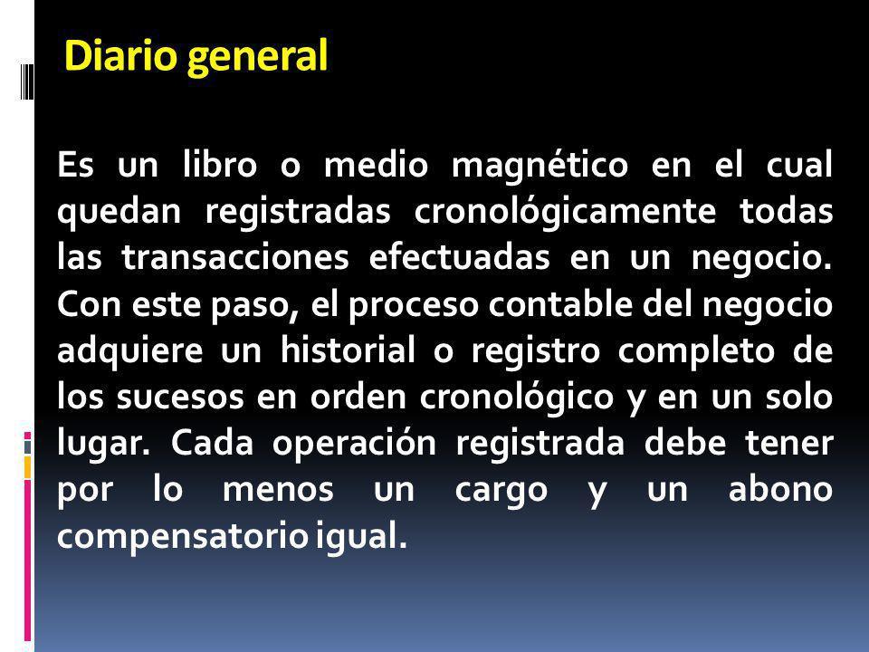 Diario general Es un libro o medio magnético en el cual quedan registradas cronológicamente todas las transacciones efectuadas en un negocio. Con este
