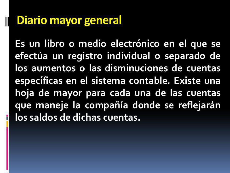 Es un libro o medio electrónico en el que se efectúa un registro individual o separado de los aumentos o las disminuciones de cuentas específicas en e