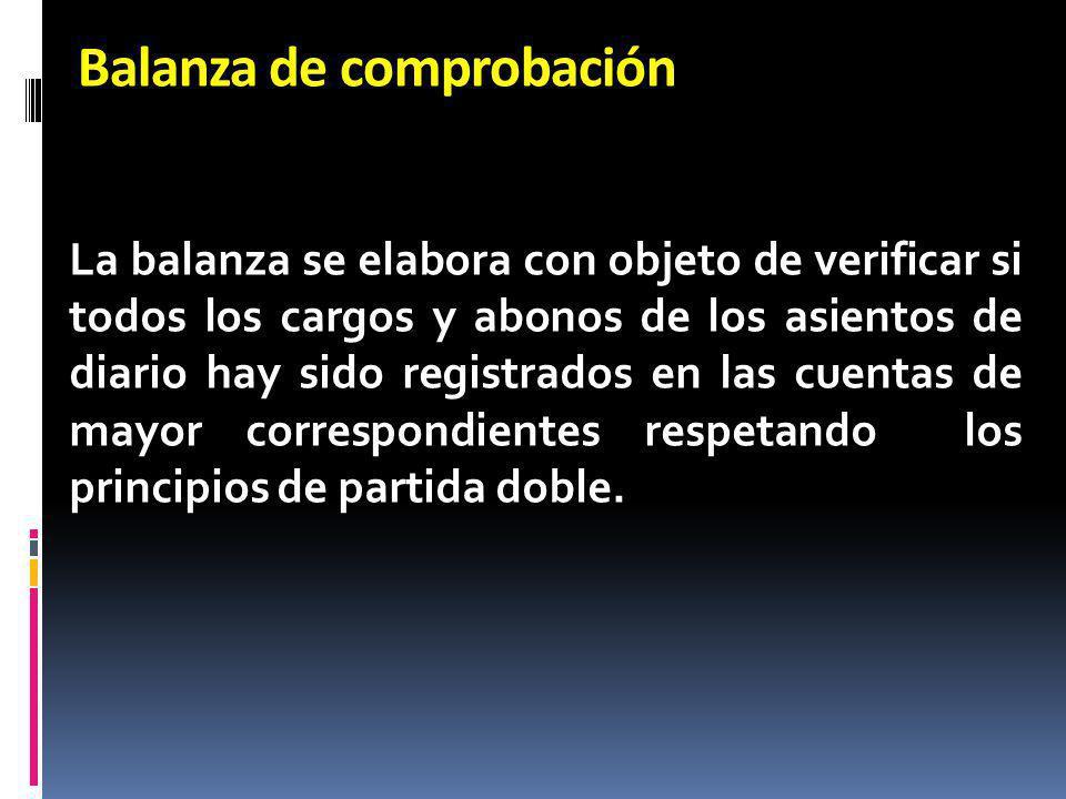 Balanza de comprobación La balanza se elabora con objeto de verificar si todos los cargos y abonos de los asientos de diario hay sido registrados en l