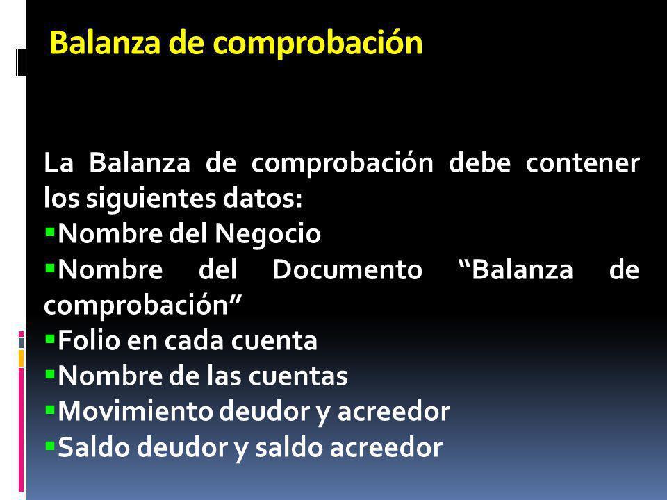 Balanza de comprobación La Balanza de comprobación debe contener los siguientes datos: Nombre del Negocio Nombre del Documento Balanza de comprobación