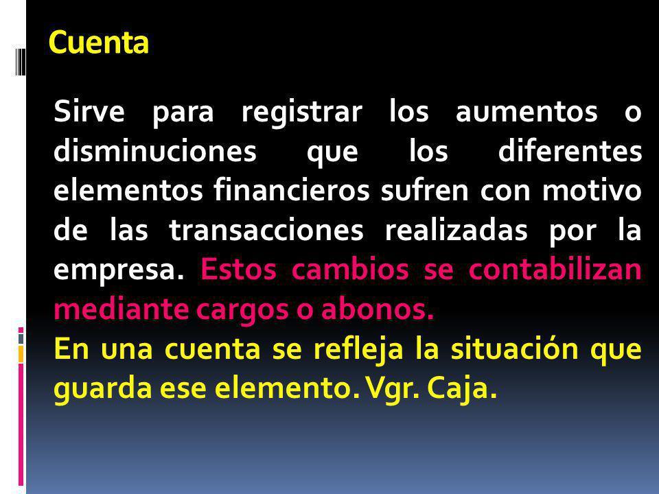 Cuenta Sirve para registrar los aumentos o disminuciones que los diferentes elementos financieros sufren con motivo de las transacciones realizadas po