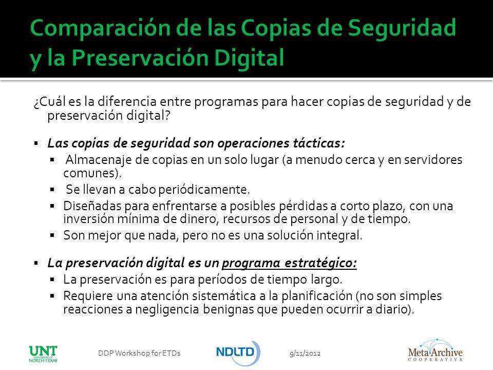 ¿Cuál es la diferencia entre programas para hacer copias de seguridad y de preservación digital? Las copias de seguridad son operaciones tácticas: Alm