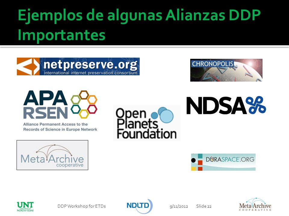 9/11/2012DDP Workshop for ETDsSlide 22 Ejemplos de algunas Alianzas DDP Importantes