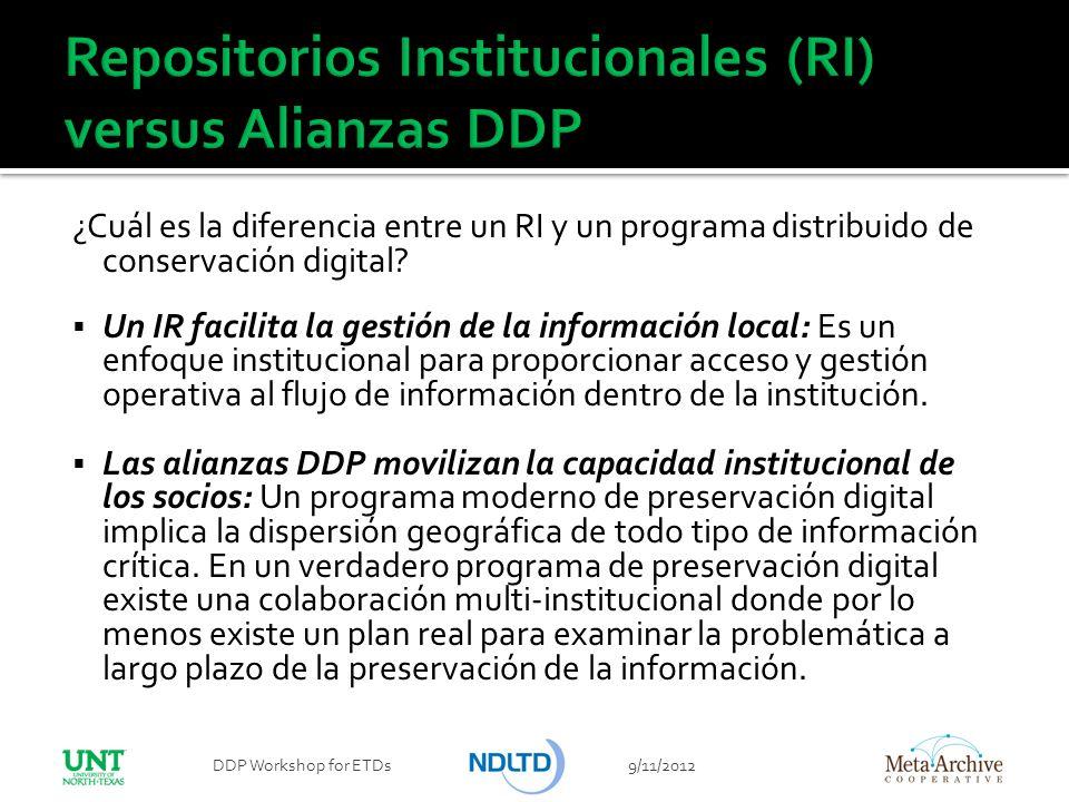 ¿Cuál es la diferencia entre un RI y un programa distribuido de conservación digital? Un IR facilita la gestión de la información local: Es un enfoque