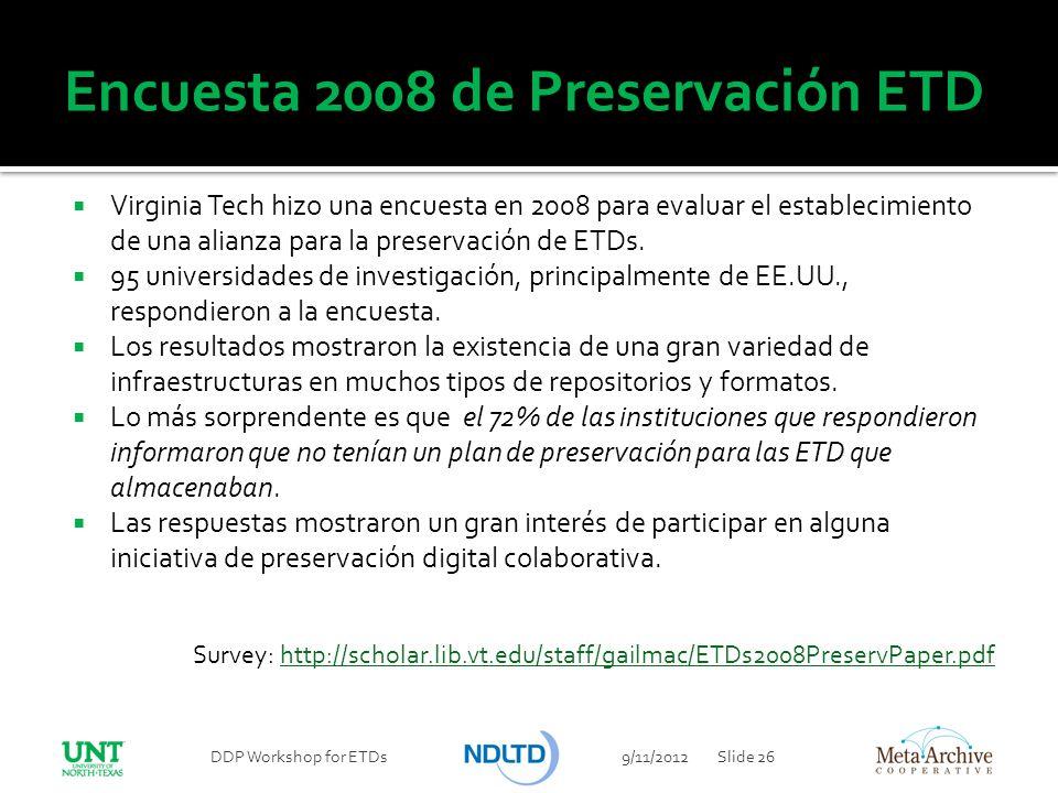 Encuesta 2008 de Preservación ETD Virginia Tech hizo una encuesta en 2008 para evaluar el establecimiento de una alianza para la preservación de ETDs.