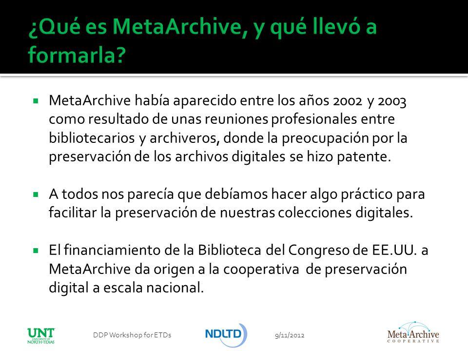 MetaArchive había aparecido entre los años 2002 y 2003 como resultado de unas reuniones profesionales entre bibliotecarios y archiveros, donde la preo