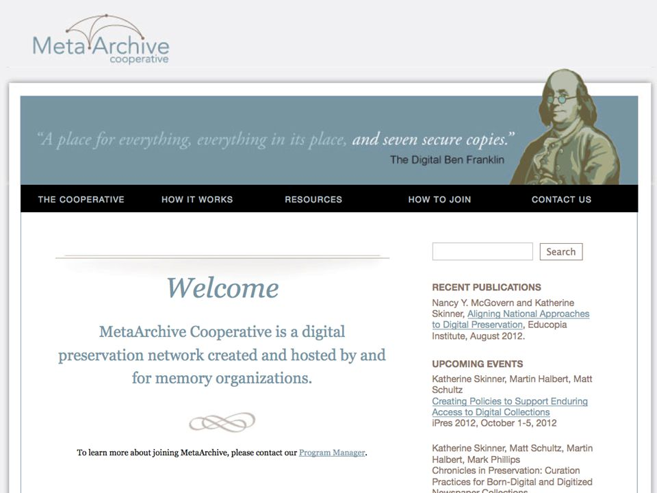 MetaArchive Home Page 9/11/2012DDP Workshop for ETDs