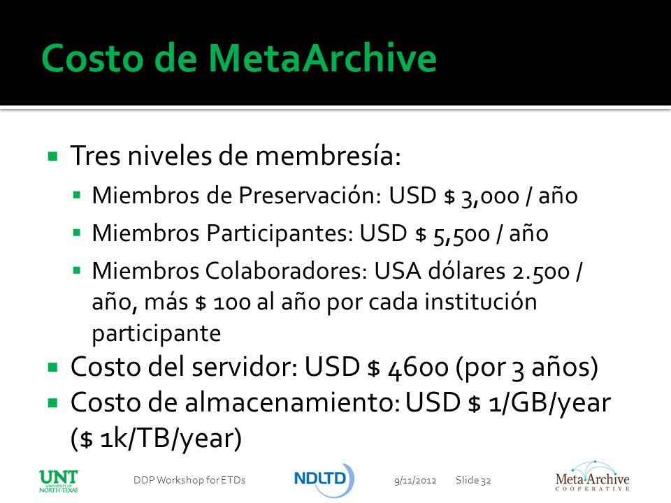 Costo de MetaArchive Tres niveles de membresía: Miembros de Preservación: USD $ 3,000 / año Miembros Participantes: USD $ 5,500 / año Miembros Colabor