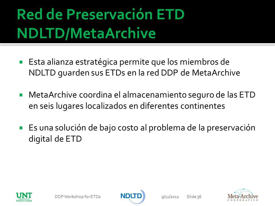 Red de Preservación ETD NDLTD/MetaArchive Esta alianza estratégica permite que los miembros de NDLTD guarden sus ETDs en la red DDP de MetaArchive Met