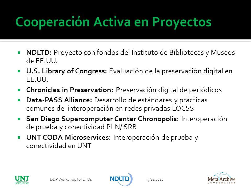 NDLTD: Proyecto con fondos del Instituto de Bibliotecas y Museos de EE.UU. U.S. Library of Congress: Evaluación de la preservación digital en EE.UU. C