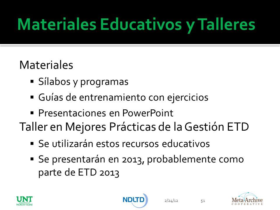 Materiales Educativos y Talleres Materiales Sílabos y programas Guías de entrenamiento con ejercicios Presentaciones en PowerPoint Taller en Mejores P