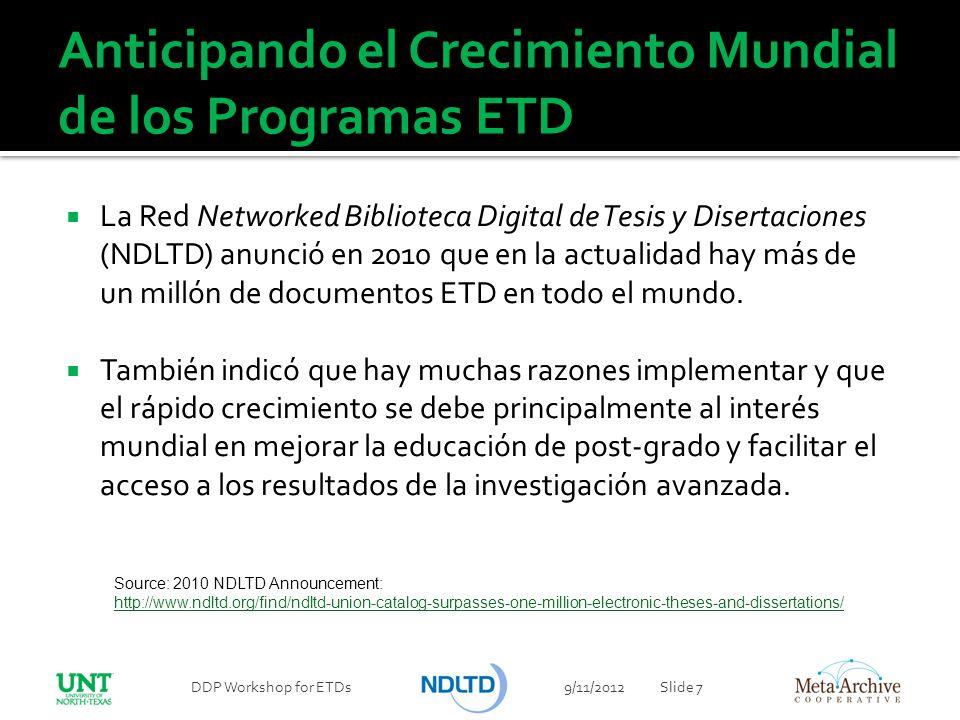 Resumen de este Taller Muchas universidades están implementando programas de documentos ETDs Un programa ETD efectivo requiere atención especial a la genstión del ciclo de vida completo de los documentos ETD.
