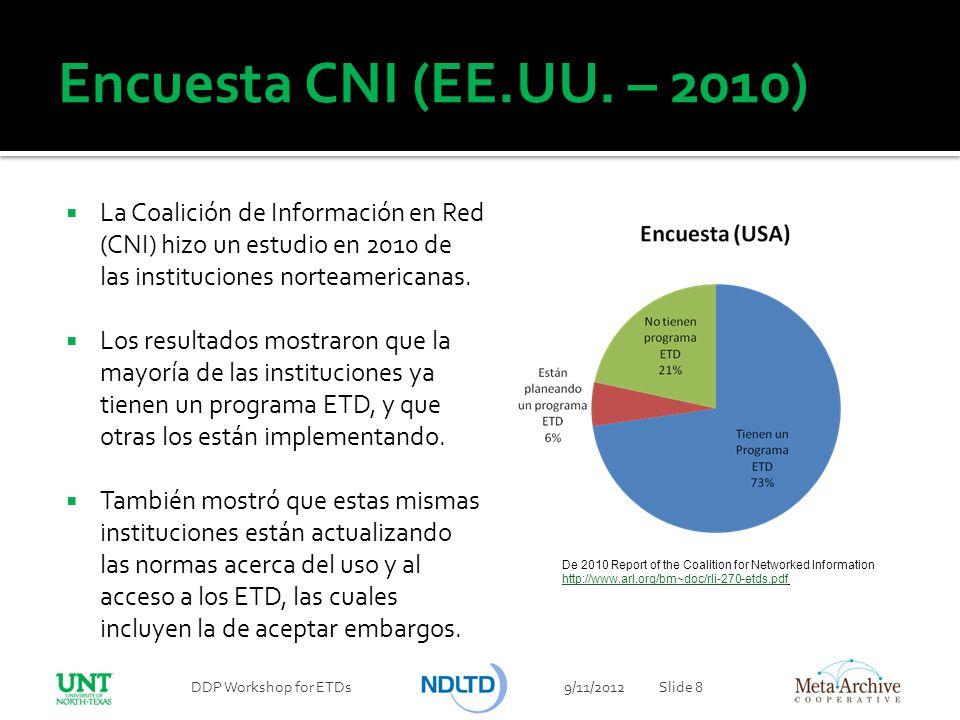 Encuesta CNI (EE.UU. – 2010) 9/11/2012DDP Workshop for ETDsSlide 8 De 2010 Report of the Coalition for Networked Information http://www.arl.org/bm~doc