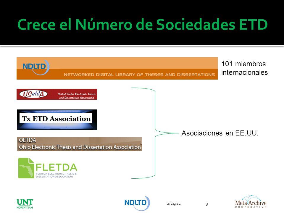 Crece el Número de Sociedades ETD 2/24/129 101 miembros internacionales Asociaciones en EE.UU.