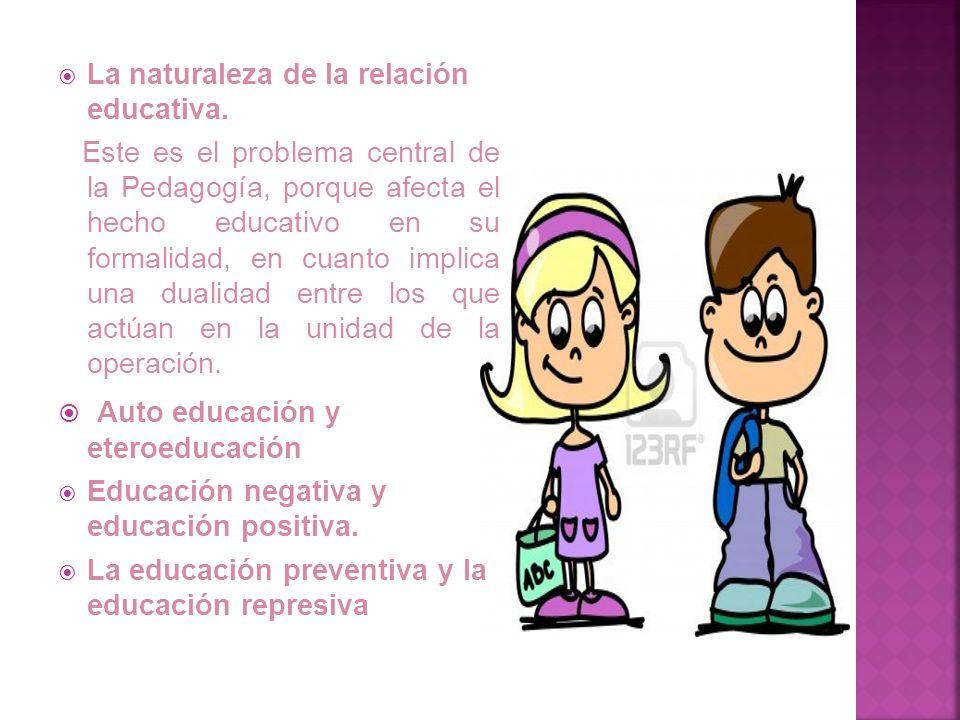 La posibilidad y la necesidad de la relación educativa. Por la experiencia común consta que la educación tiene discípulo y maestro; por maestro se ent
