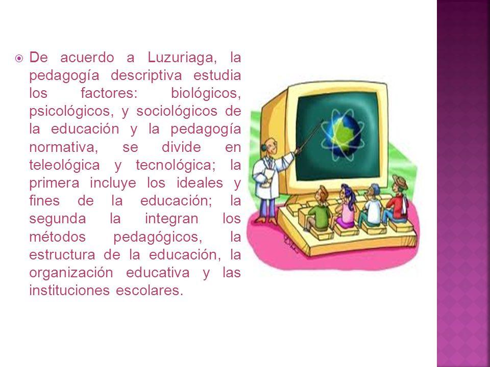 . Si nos limitamos a señalar los elementos y factores de la educación, hacemos pedagogía descriptiva y si trazamos un conjunto de normas para la activ