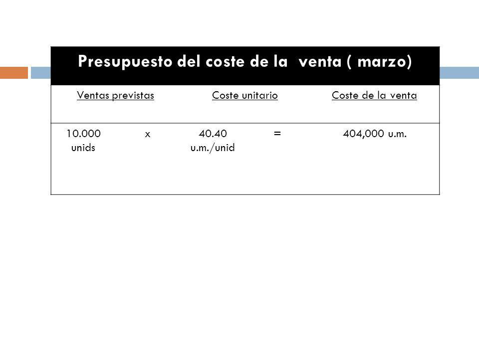 Presupuesto del coste de la venta ( marzo) Ventas previstasCoste unitarioCoste de la venta 10.000 unids x40.40 u.m./unid =404,000 u.m.