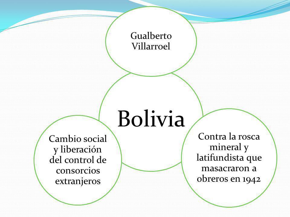 Bolivia Gualberto Villarroel Contra la rosca mineral y latifundista que masacraron a obreros en 1942 Cambio social y liberación del control de consorcios extranjeros