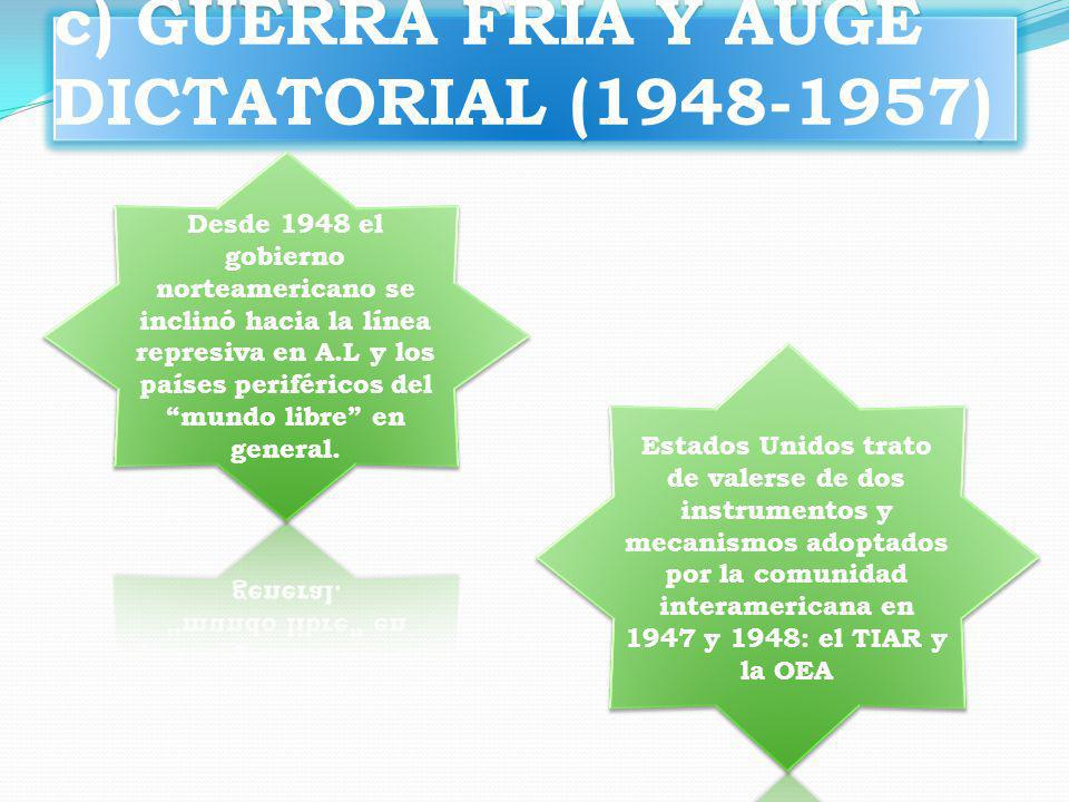 c) GUERRA FRIA Y AUGE DICTATORIAL (1948-1957)