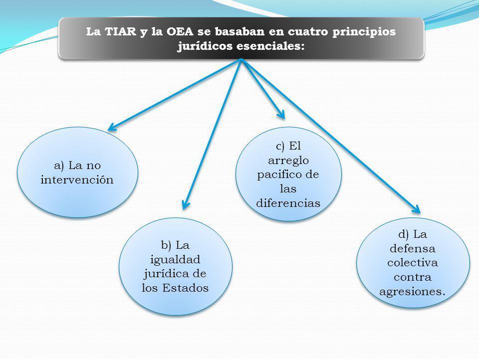 La TIAR y la OEA se basaban en cuatro principios jurídicos esenciales: a) La no intervención b) La igualdad jurídica de los Estados c ) El arreglo pacifico de las diferencias d) La defensa colectiva contra agresiones.