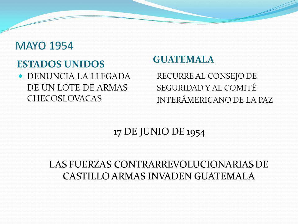 MAYO 1954 ESTADOS UNIDOS GUATEMALA DENUNCIA LA LLEGADA DE UN LOTE DE ARMAS CHECOSLOVACAS RECURRE AL CONSEJO DE SEGURIDAD Y AL COMITÉ INTERÁMERICANO DE LA PAZ 17 DE JUNIO DE 1954 LAS FUERZAS CONTRARREVOLUCIONARIAS DE CASTILLO ARMAS INVADEN GUATEMALA