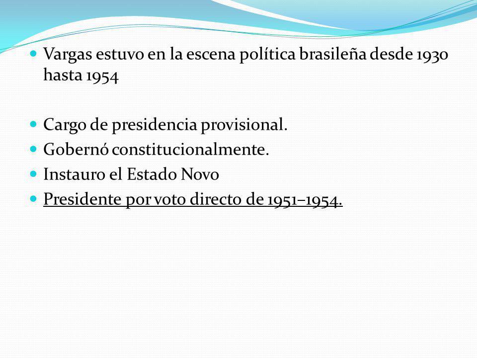 Vargas estuvo en la escena política brasileña desde 1930 hasta 1954 Cargo de presidencia provisional.
