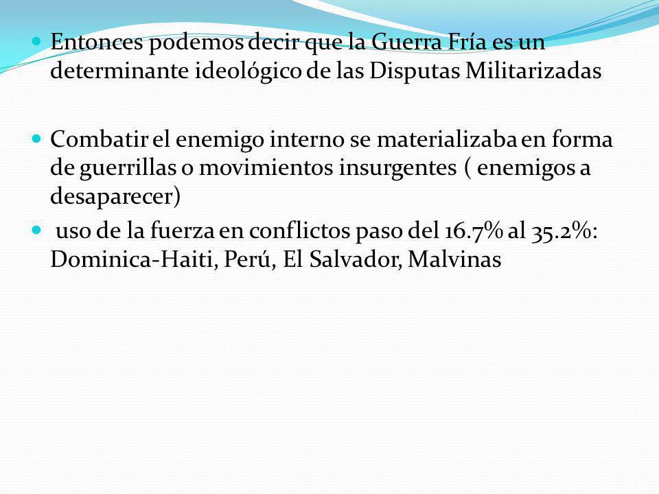 Entonces podemos decir que la Guerra Fría es un determinante ideológico de las Disputas Militarizadas Combatir el enemigo interno se materializaba en forma de guerrillas o movimientos insurgentes ( enemigos a desaparecer) uso de la fuerza en conflictos paso del 16.7% al 35.2%: Dominica-Haiti, Perú, El Salvador, Malvinas