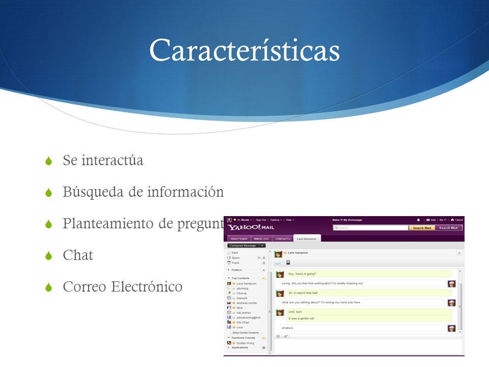 Se interactúa Búsqueda de información Planteamiento de preguntas Chat Correo Electrónico Características