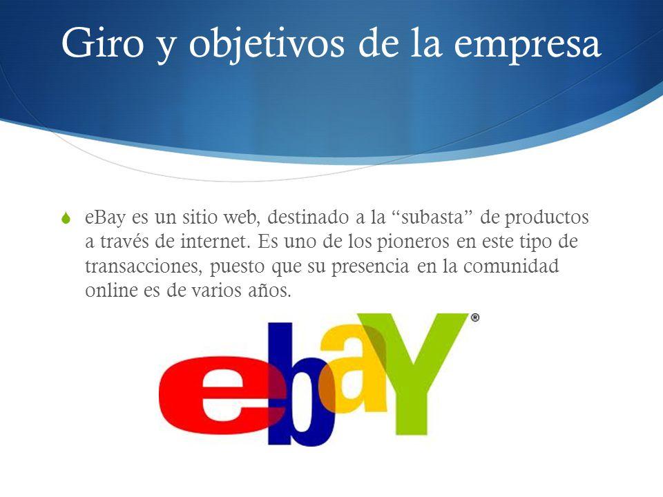 Giro y objetivos de la empresa eBay es un sitio web, destinado a la subasta de productos a través de internet. Es uno de los pioneros en este tipo de