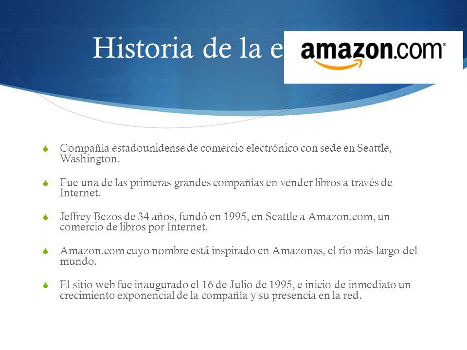 Historia de la empresa Compañía estadounidense de comercio electrónico con sede en Seattle, Washington. Fue una de las primeras grandes compañías en v