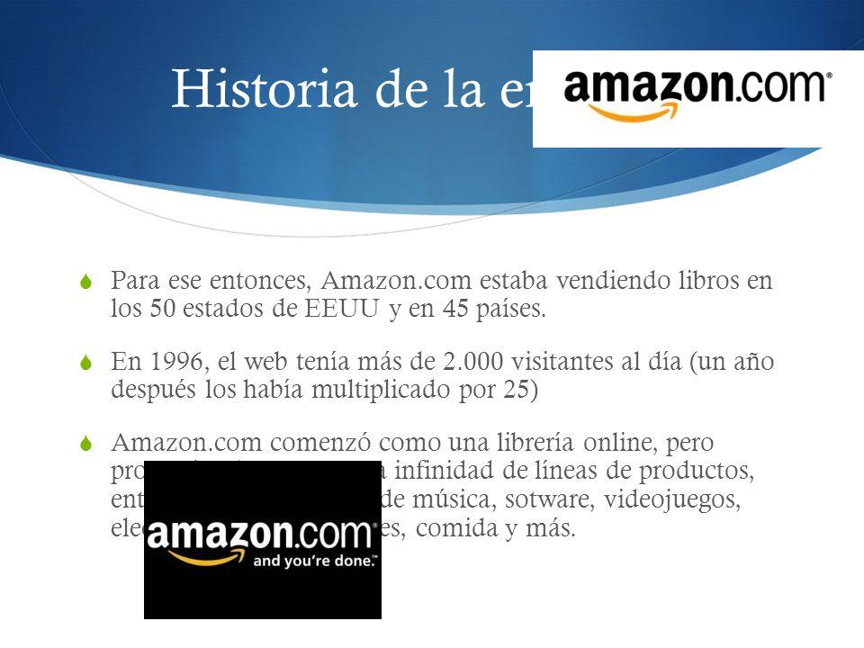 Historia de la empresa Para ese entonces, Amazon.com estaba vendiendo libros en los 50 estados de EEUU y en 45 países. En 1996, el web tenía más de 2.