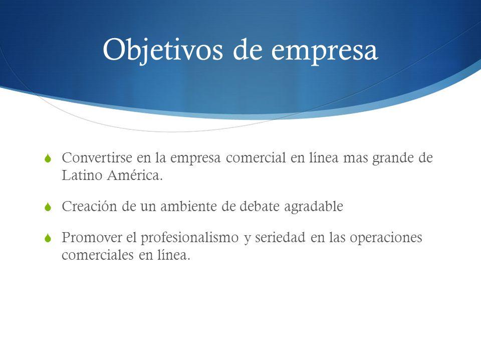 Objetivos de empresa Convertirse en la empresa comercial en línea mas grande de Latino América. Creación de un ambiente de debate agradable Promover e