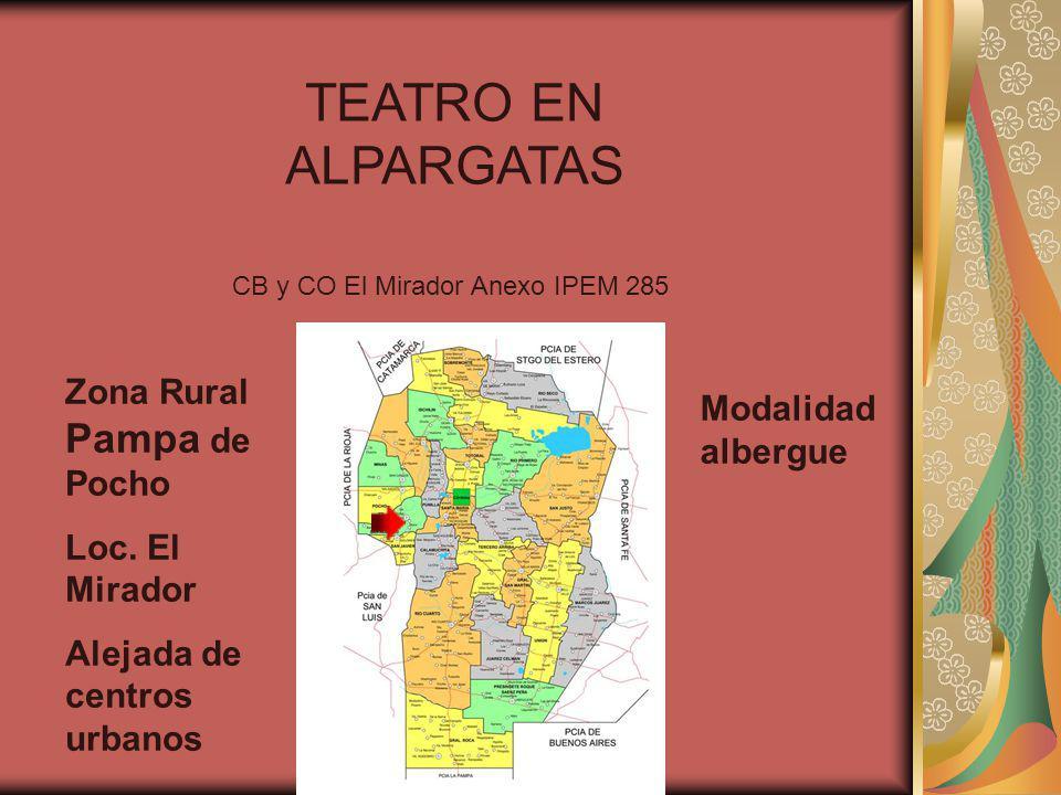 TEATRO EN ALPARGATAS CB y CO El Mirador Anexo IPEM 285 Zona Rural Pampa de Pocho Loc. El Mirador Alejada de centros urbanos Modalidad albergue