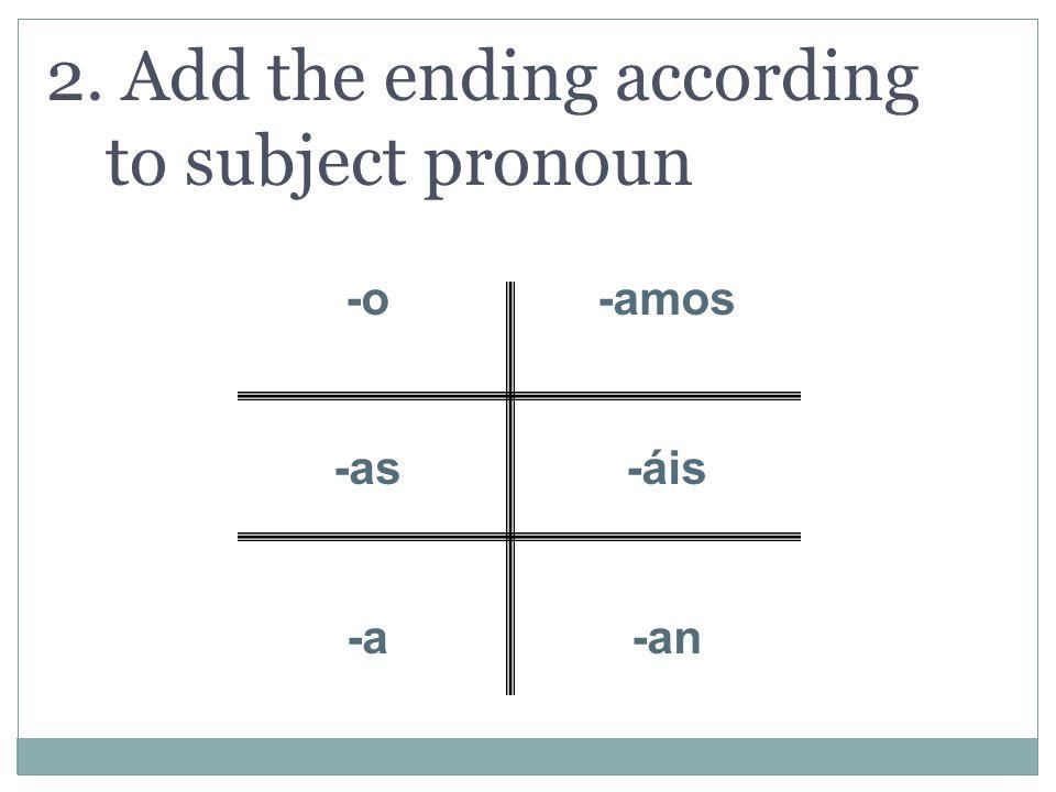 2. Add the ending according to subject pronoun -o -as -a -amos -áis -an