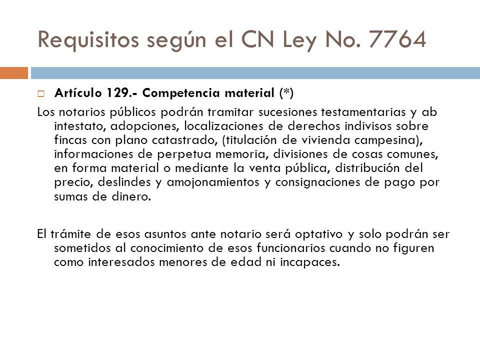 Requisitos según el CN Ley No. 7764 Artículo 129.- Competencia material (*) Los notarios públicos podrán tramitar sucesiones testamentarias y ab intes