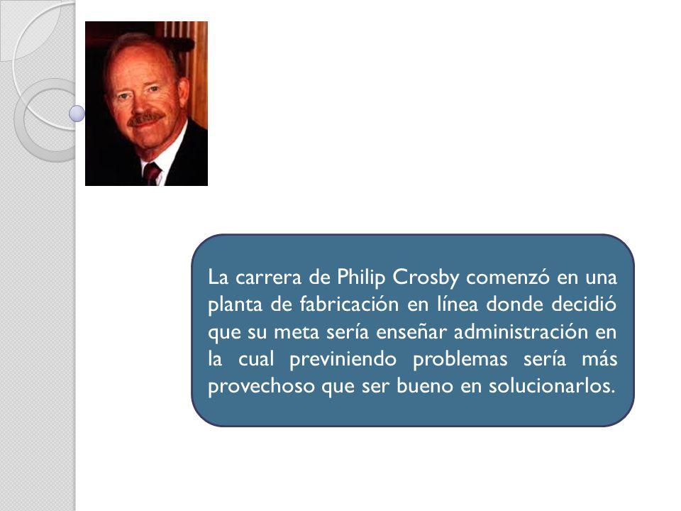 La carrera de Philip Crosby comenzó en una planta de fabricación en línea donde decidió que su meta sería enseñar administración en la cual previniend