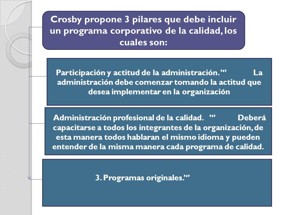 Crosby propone 3 pilares que debe incluir un programa corporativo de la calidad, los cuales son: Participación y actitud de la administración. La admi