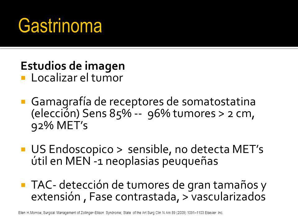 Estudios de imagen Localizar el tumor Gamagrafía de receptores de somatostatina (elección) Sens 85% -- 96% tumores > 2 cm, 92% METs US Endoscopico > s