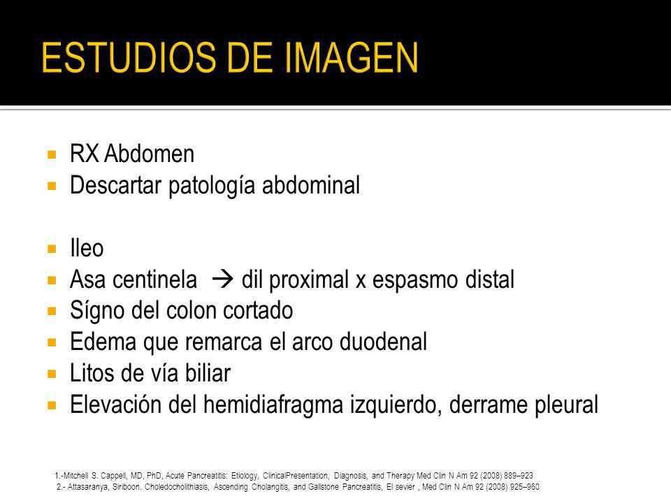 RX Abdomen Descartar patología abdominal Ileo Asa centinela dil proximal x espasmo distal Sígno del colon cortado Edema que remarca el arco duodenal L