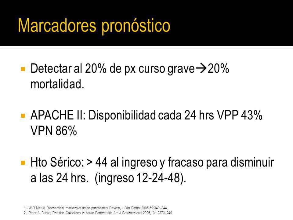 Detectar al 20% de px curso grave 20% mortalidad. APACHE II: Disponibilidad cada 24 hrs VPP 43% VPN 86% Hto Sérico: > 44 al ingreso y fracaso para dis