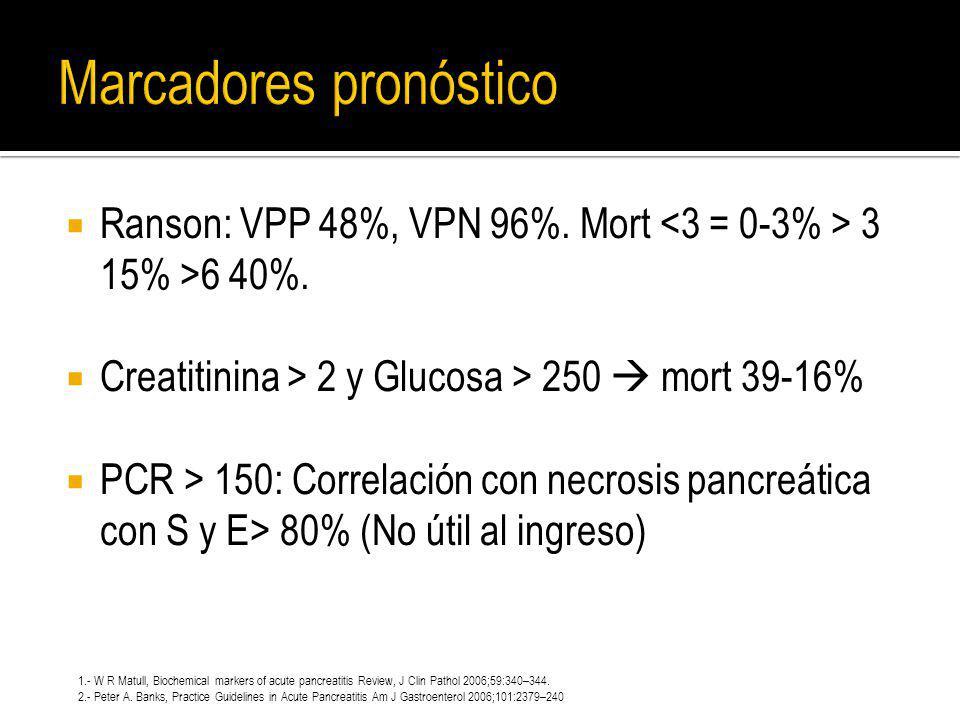 Ranson: VPP 48%, VPN 96%. Mort 3 15% >6 40%. Creatitinina > 2 y Glucosa > 250 mort 39-16% PCR > 150: Correlación con necrosis pancreática con S y E> 8