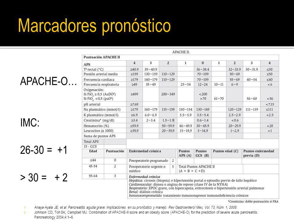 APACHE-O… IMC: 26-30 = +1 > 30 = + 2 1. Anaya-Ayala JE, et al. Pancreatitis aguda grave: implicaciones en su pronóstico y manejo. Rev Gastroenterol Me