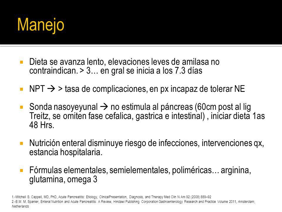 Dieta se avanza lento, elevaciones leves de amilasa no contraindican. > 3… en gral se inicia a los 7.3 días NPT > tasa de complicaciones, en px incapa