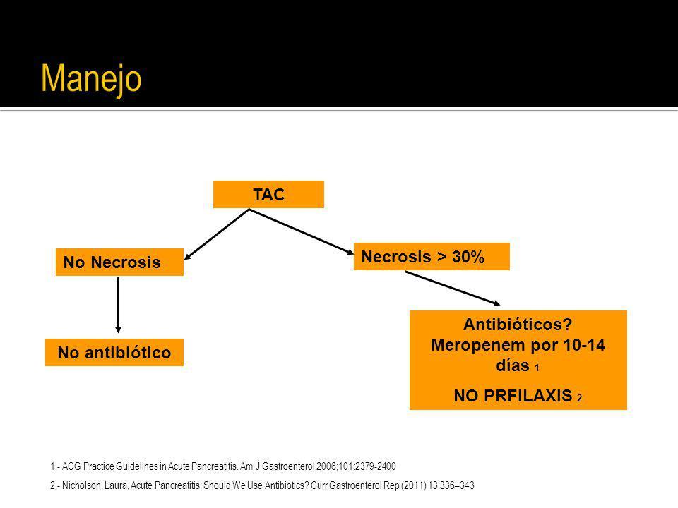 Manejo TAC No Necrosis Necrosis > 30% No antibiótico Antibióticos? Meropenem por 10-14 días 1 NO PRFILAXIS 2 1.- ACG Practice Guidelines in Acute Panc
