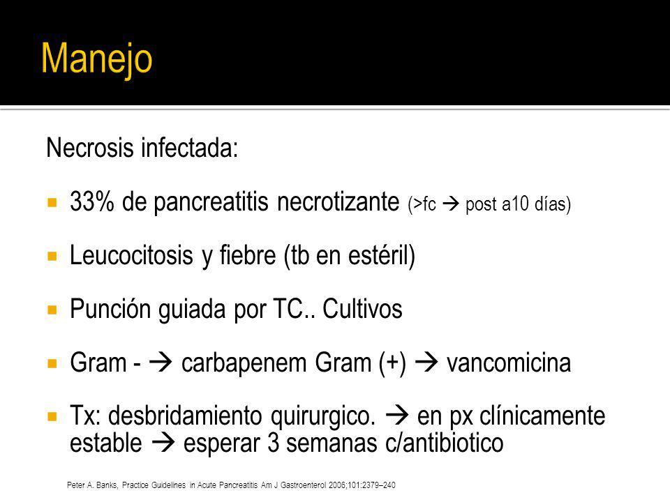 Necrosis infectada: 33% de pancreatitis necrotizante (>fc post a10 días) Leucocitosis y fiebre (tb en estéril) Punción guiada por TC.. Cultivos Gram -