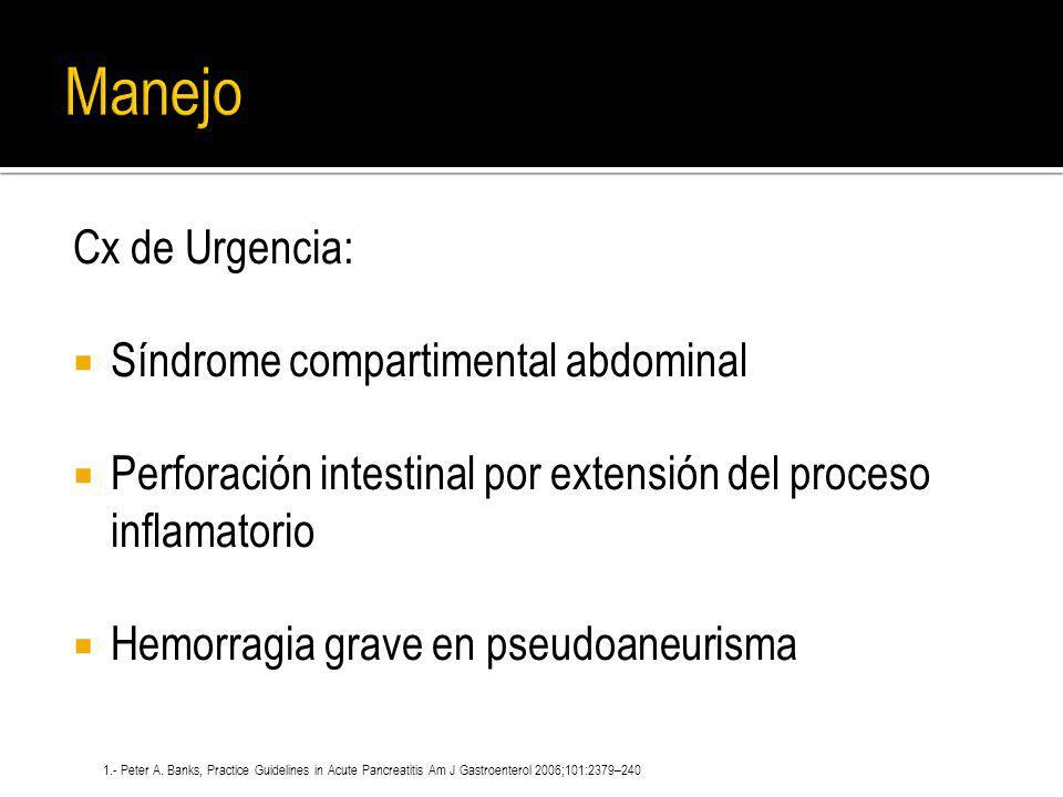 Cx de Urgencia: Síndrome compartimental abdominal Perforación intestinal por extensión del proceso inflamatorio Hemorragia grave en pseudoaneurisma 1.