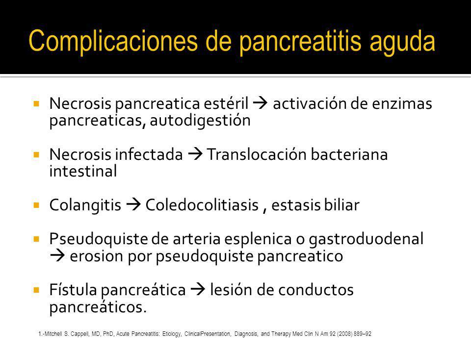 Necrosis pancreatica estéril activación de enzimas pancreaticas, autodigestión Necrosis infectada Translocación bacteriana intestinal Colangitis Coled